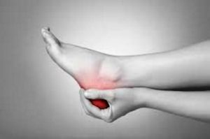A podiatry patient with heel pain